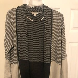 Long grey and tan plus size sweater
